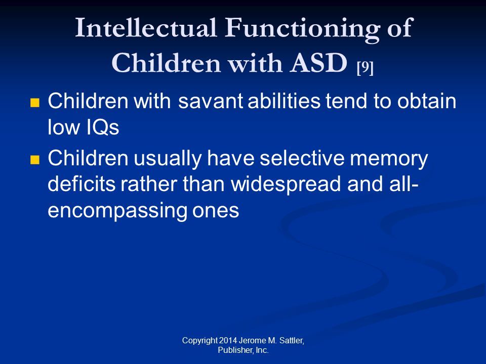 Intellectual Functioning of Children with ASD [9]